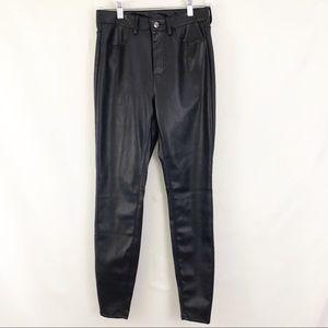Free People Black Faux Leather Skinny Pants Sz 28